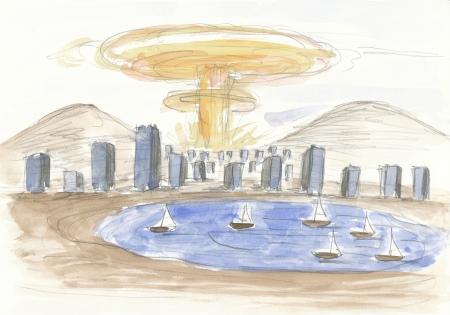 Blick in eine nahe Zukunft II: Atombombe über der Wüstenstadt (Aquarell)